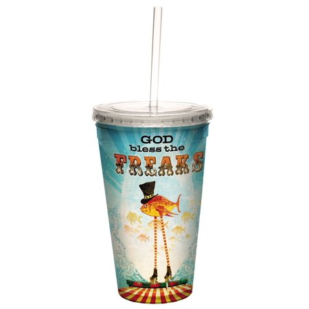 Tree Free Greetings 35481 Angi And Silas God Bless The Freaks Double Walled Cool Cup With Reusable Straw  16 Ounce