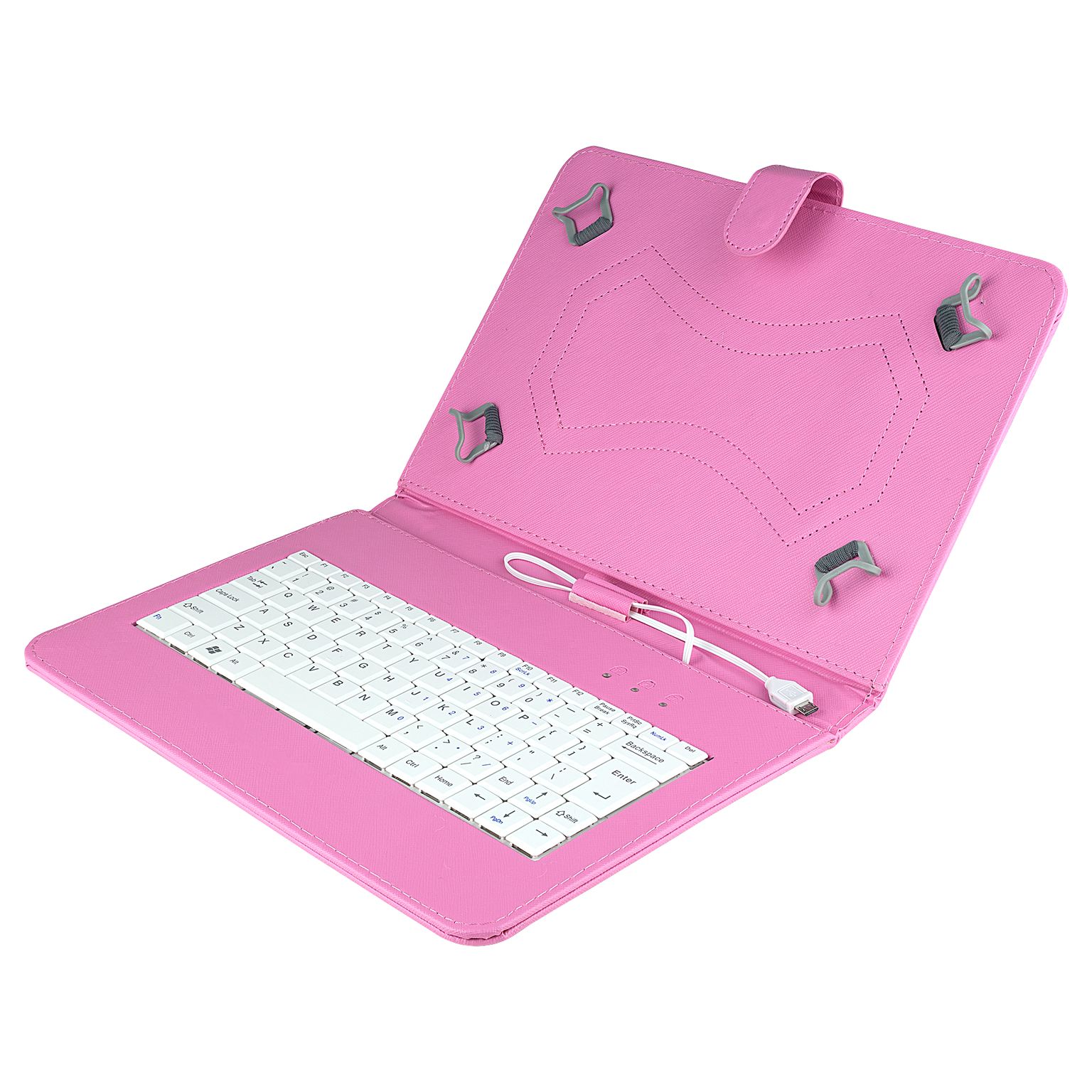 Felji Pink Stand Leather Case Cover for 10 Inch Android Tablet Universal with USB Keyboard