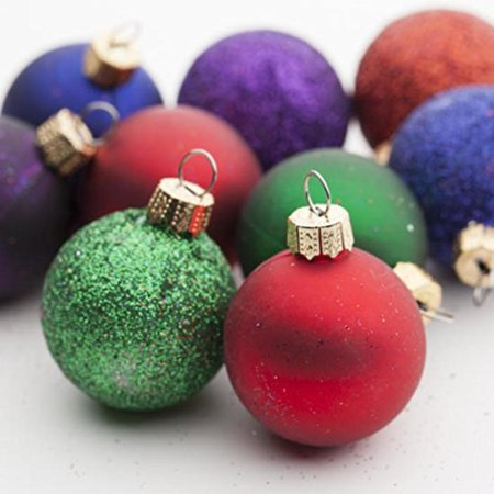 Package of 36 Glittery, Pearlescent, and Metallic Assorted Christmas Miniature Round Ball Ornaments for Embellishing Packages, Trees and Crafts, Package of 36 Glittery,.., By - Christmas Ornament Craft
