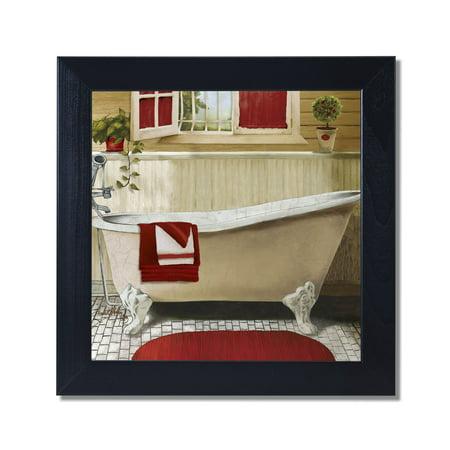 Red Bain IV Bathroom Black Framed Art Print Poster 12x12