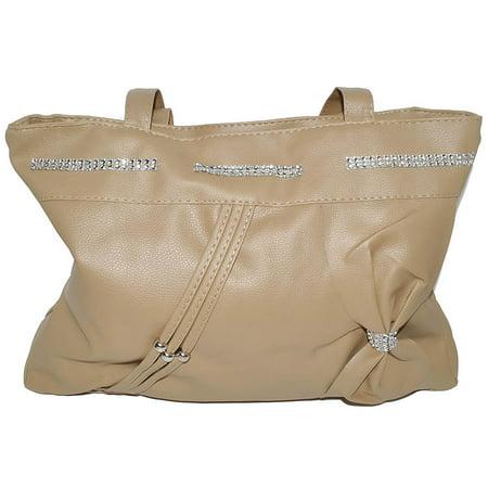Beige Double Handle Purse Handbag with Zipper Closure