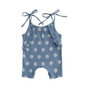 Newborn Baby Girls Daisy Print Romper Jumpsuit Sleeveless Jumpsuit for Kids Infant Girls