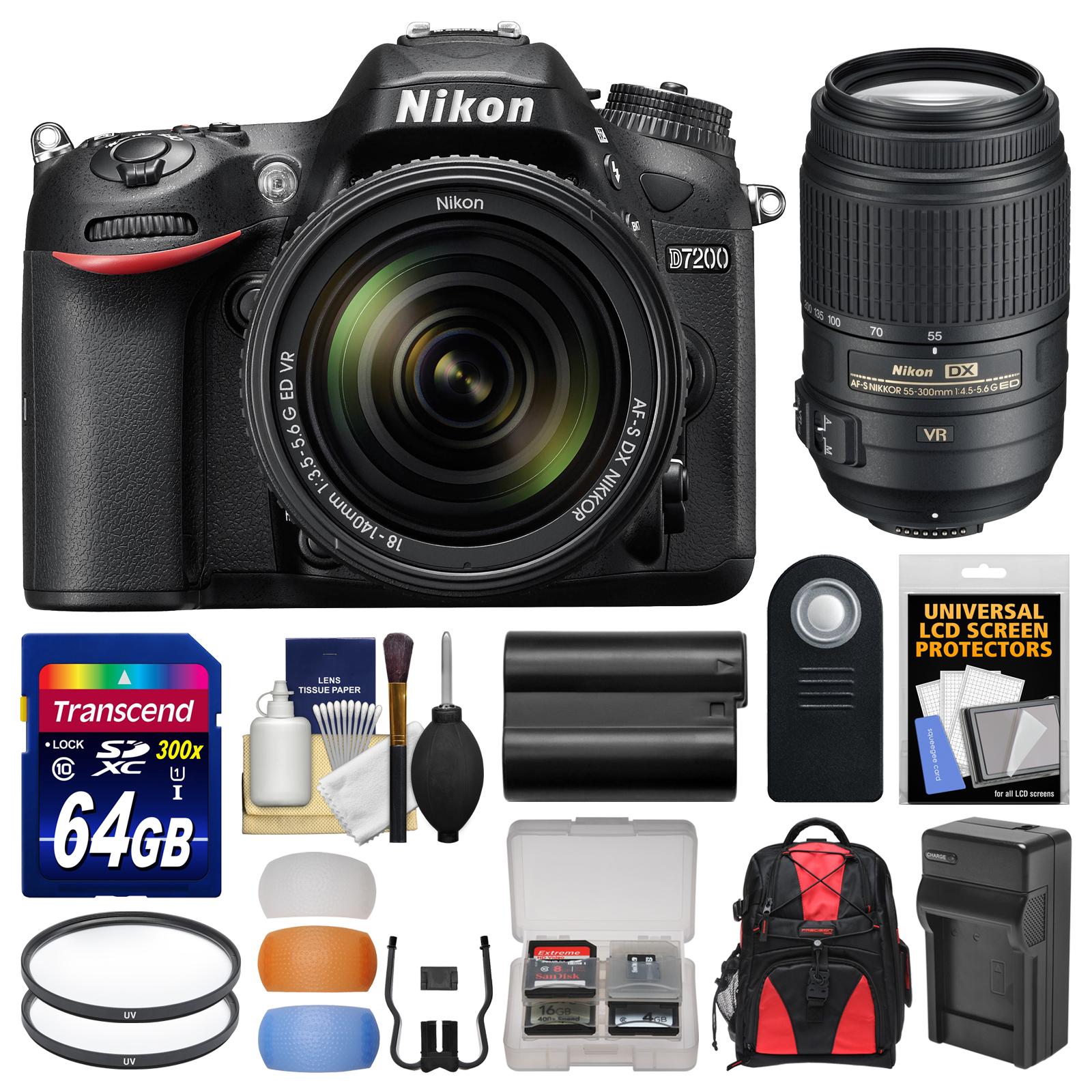 Nikon D7200 Wi-Fi Digital SLR Camera & 18-140mm VR DX & 55-300mm VR Lens with 64GB Card + Backpack + Battery/Charger + Filters + Remote + Kit