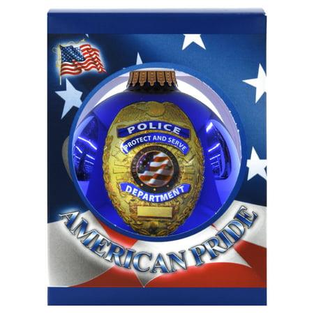 Glass Christmas Ornament, Police Responder, 3.25-In. ()