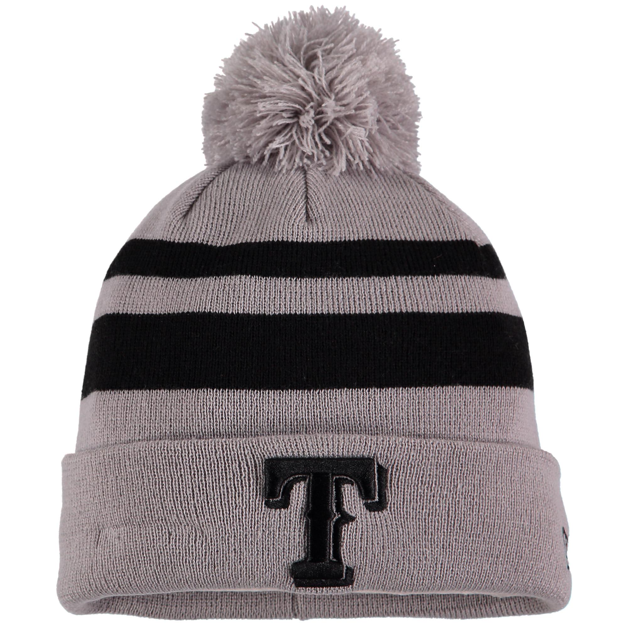 Texas Rangers New Era Rebound Cuffed Knit Hat with Pom - Gray/Black - OSFA