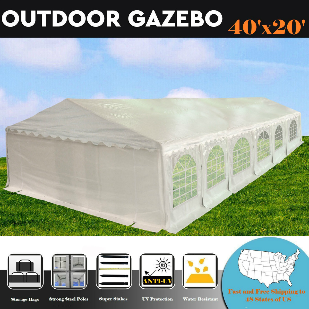 40'x20' PE White Tent - Heavy Duty Party Wedding Canopy Carport Shelter - By DELTA Canopies