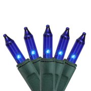 Brite Star 100ct Mini Icicle String Lights Blue - 7.8' Green Wire
