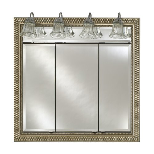 Afina Signature Traditional Lighted Triple Door 34W x 34H in. Surface Mount Medicine Cabinet