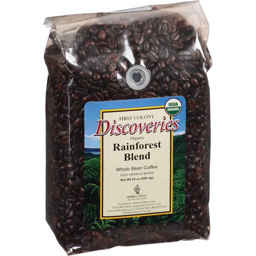First Colony Discoveries Rainforest Blend Whole Bean Coffee, 24 oz, (Pack of 4)