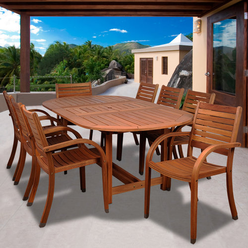 Arizona 9-Piece Eucalyptus Extendable Oval Patio Dining Room Set by INTERNATIONAL HOME