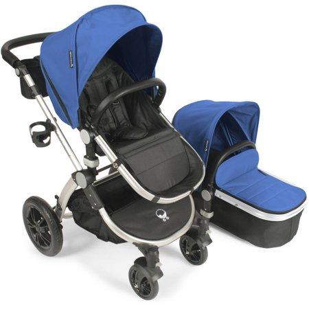 Babyroues Letour Avant Stroller With Bassinet Silver Frame  Blue Fabric