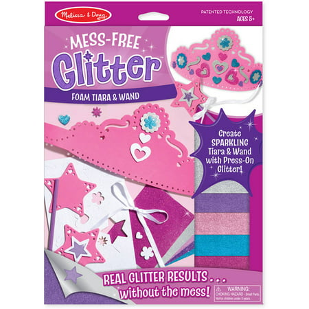 Melissa & Doug Mess-Free Glitter Foam Tiara and Wand Craft Kit With Sparkling (Craft Foam Stickers)
