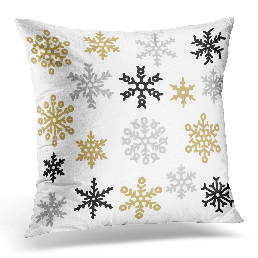 USART Black Christmas of Gold and Silver Snowflakes Holiday Collection White Cold Pillow Case Pillow Cover 20x20 inch