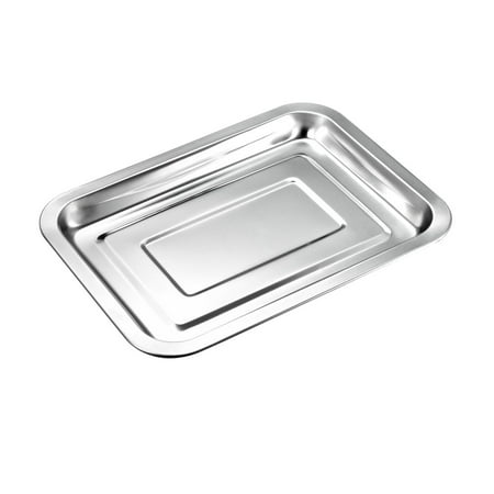 265mm x 195mm Grill Pan Stainless Steel Tray Hotel Tableware Rectangular Barbecue Grilling Plate