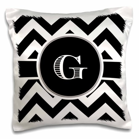 3dRose Black and white chevron monogram initial G, Pillow Case, 16 by 16-inch ()