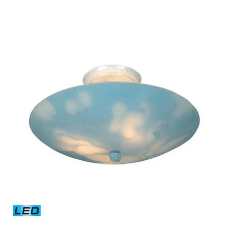 Semi Flush 3 Light LED With White Finish Clouds Glass 17 inch 40.5 Watts - World of Lamp