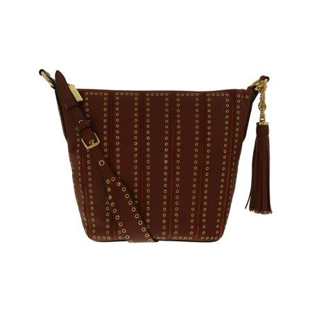Michael Kors Grommet (Michael Kors Women's Medium Brooklyn Grommet Leather Feed Bag Shoulder Tote - Brick )