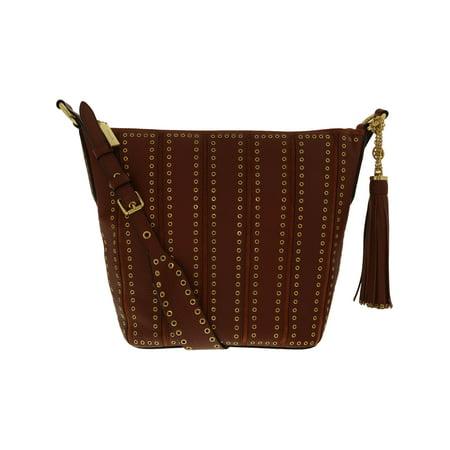 Michael Kors Women's Medium Brooklyn Grommet Leather Feed Bag Shoulder Tote - Brick