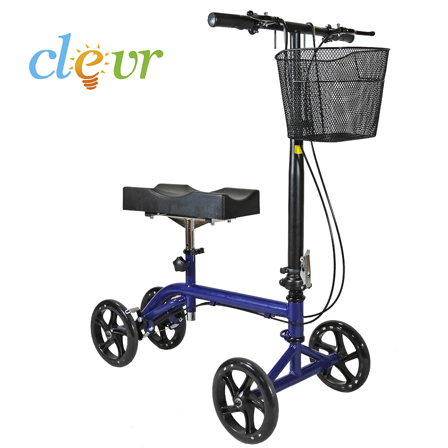 Foldable Medical Steerable Knee Walker Aid Scooter Roller Crutch Blue