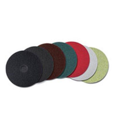 12 in. Diameter Low-Speed Topline Autoscrubber Floor Pads 5000, Green & Amber - 5 per Count