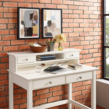 Campbell Writing Desk Hutch in White (Leather Hutch)