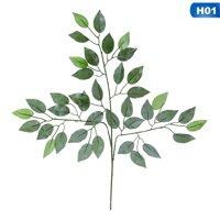 AkoaDa 12 Pcs Ficus Branch Tree Spray Green Artificial Plant Flowers Fake Leaves Leaf Home Decor