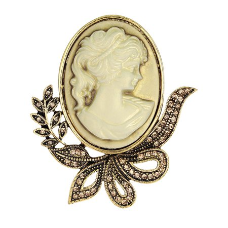 Bow Antique Gold Victorian Lady Brown Crystal Cameo Brooch Pin Choker  BROOCH-12