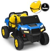 Costway 12V Kids Ride On Tractor Battery Powered 2-Seater Dumpbed Truck RC w/ Tailgate