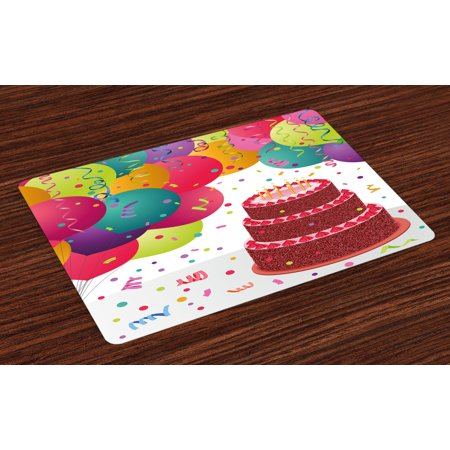 Birthday Placemats Set of 4 Strawberry Triplex Cake with Candles Ribbons Balloons Newborn Celebration Theme, Washable Fabric Place Mats for Dining Room Kitchen Table Decor,Multicolor, by Ambesonne for $<!---->