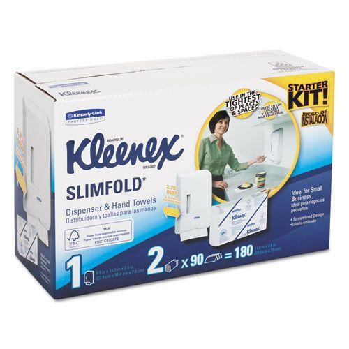 KLEENEX SLIMFOLD Dispenser Kit, 14 93/100 x 13 3/23 x 8 1/2, White, w/180 Towels-31699