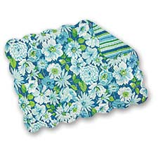 Set of 4 Pcs, 13x19 Inches Scallop Edge Reversible Quilted Placemats, Sanibel, Blue Green Floral / Stripe