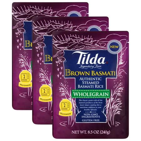 (3 Pack) Tilda Wholegrain Brown Basmati Authentic Steamed Rice, 8.5