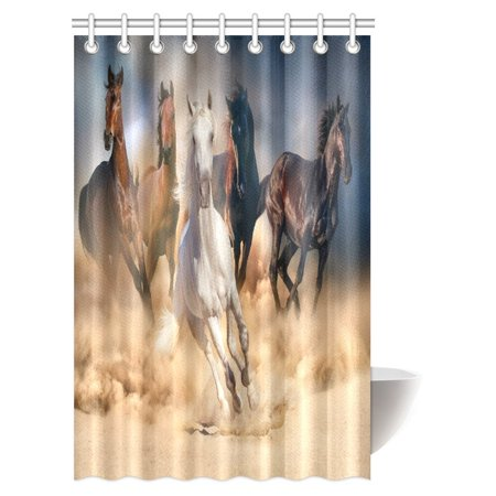 Bath Habitat Set (MYPOP Horses Collection Shower Curtain, Horses Running in Desert Storm Mythical Mystical Messenger Animals in Habitat Print Shower Curtain Set with Hooks, 48 X 72 Inches)