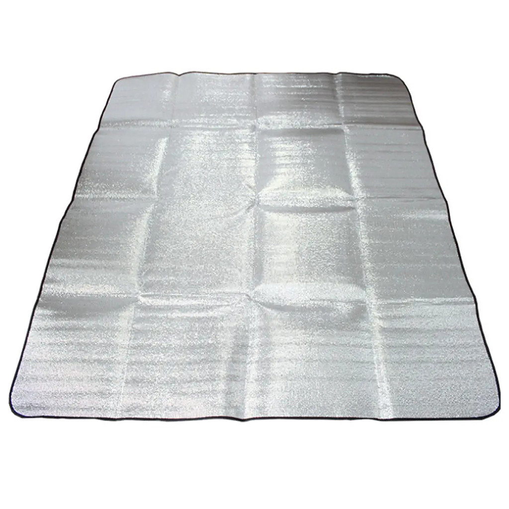 200 x 150 cm TwinkBling Aluminum Picnic Mat Blanket Waterproof Foldable Double-Sided Foil Sleeping Pad for Camping