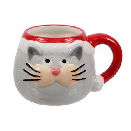Santa Cat Face Coffee Tea Cocoa 12 Ounce Mug Ceramic - Cat Face Halloween Tumblr