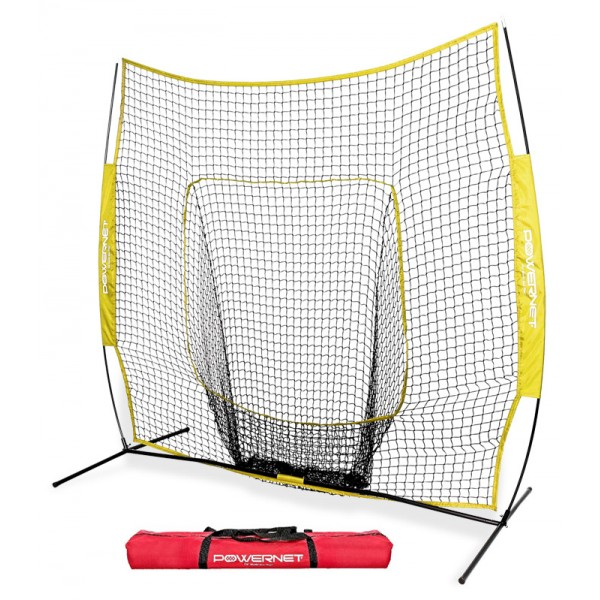 PowerNet Team Color YELLOW Baseball Softball 7x7 Hitting Net w/ bow frame (LIFETIME WARRANTY)