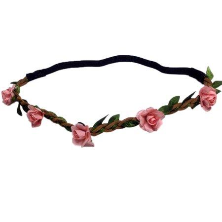 Bridal Wedding Rose Flower Wreath Headband Floral Garland for Wedding Festivals (Bridal Wreath Headband)