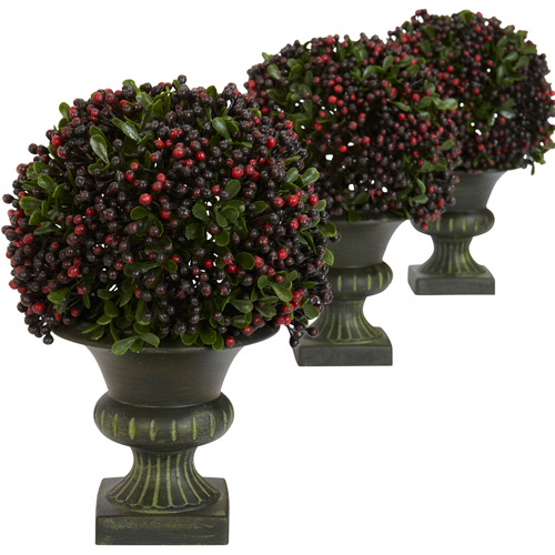 Nearly Natural Artificial Pepper Berry Ball Topiary, Set of 3