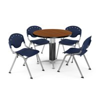 "Core Collection Breakroom Bundle, 36"" Round Metal Mesh Base Multi-purpose Table in Cherry, 4 Rico Stacking Chairs in Navy (PKG-BRK-021-0005)"