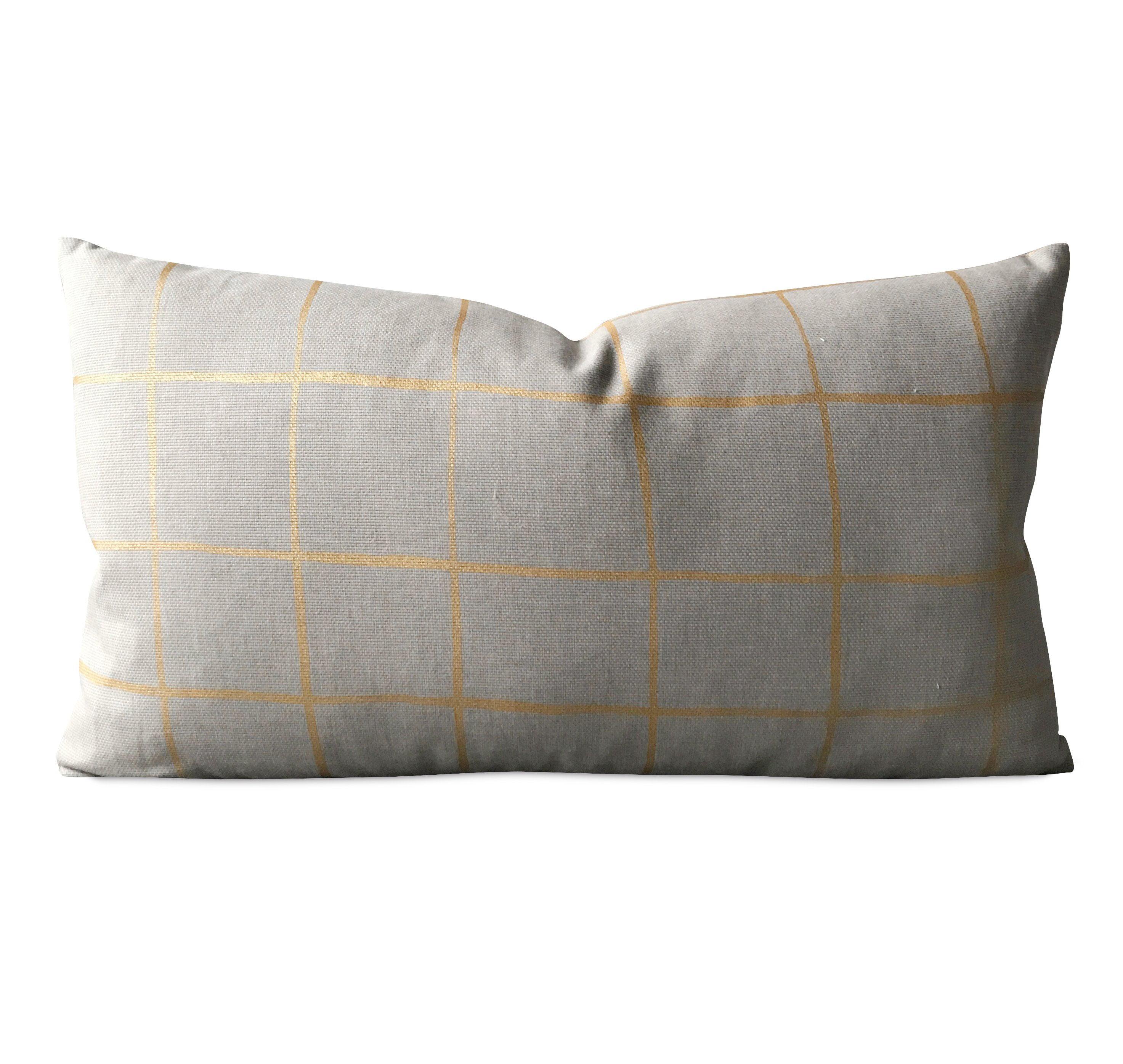 Modern Gray Gold Stripe Check Luxury Boudoir Decorative Pillow Cover 15 X 26 Walmart Com Walmart Com