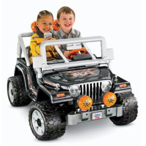 Fisher-Price Power Wheels Black Tough Talkin' Jeep 12-Volt Battery-Powered Ride-On