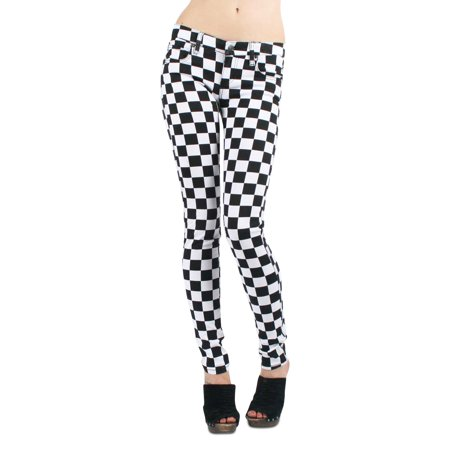 36e2790ec0c Tripp NYC - Tripp NYC Skinny T-Jean Pants in Black White Checkered -  Walmart.com