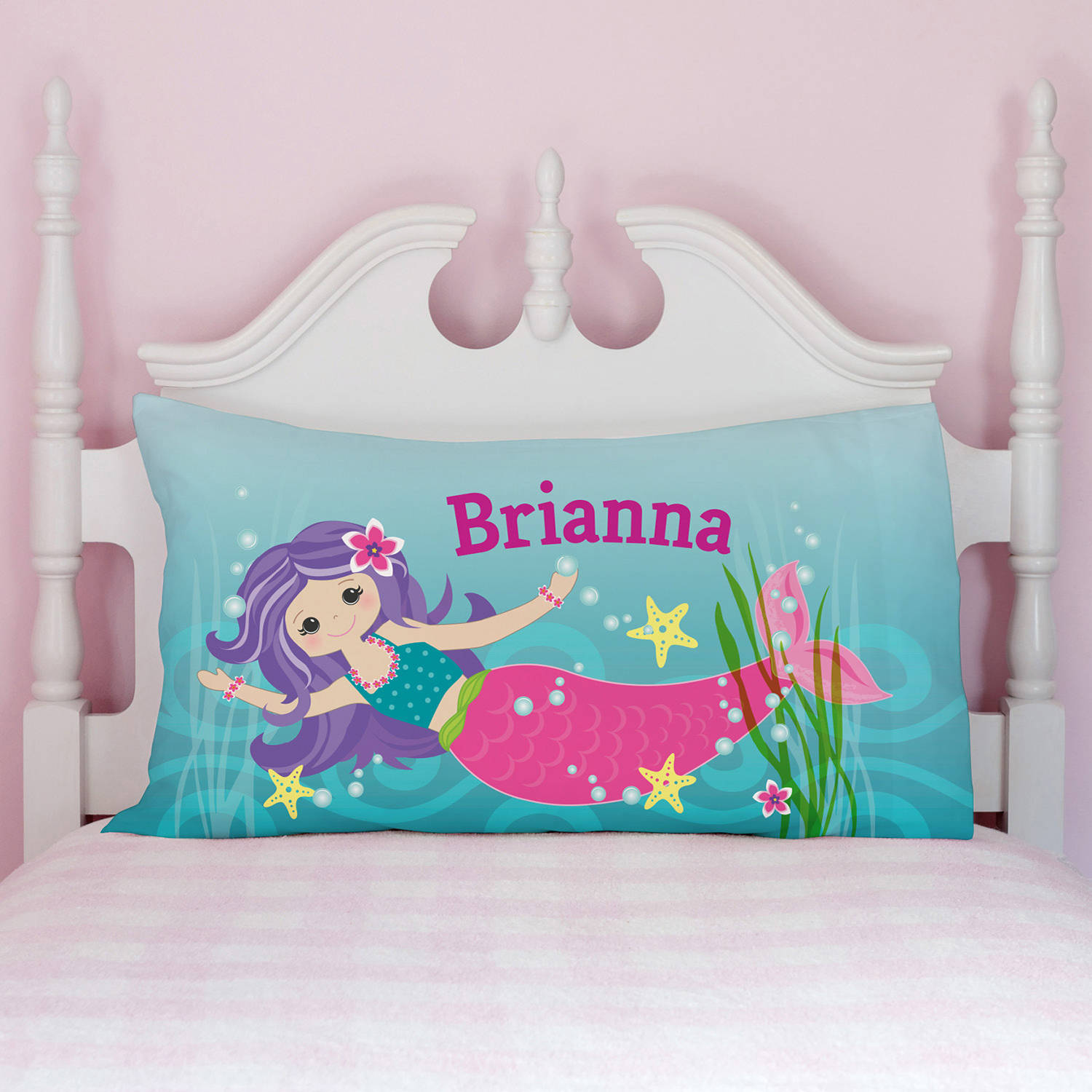 Personalized Pillowcases for Girls Choose from Mermaid, Ballet Bear or Flowers