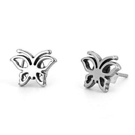 Small Butterfly Earrings - SEXY SPARKLES stainless steel small Butterfly stud earrings for girls teens women Hypoallergenic jewelry