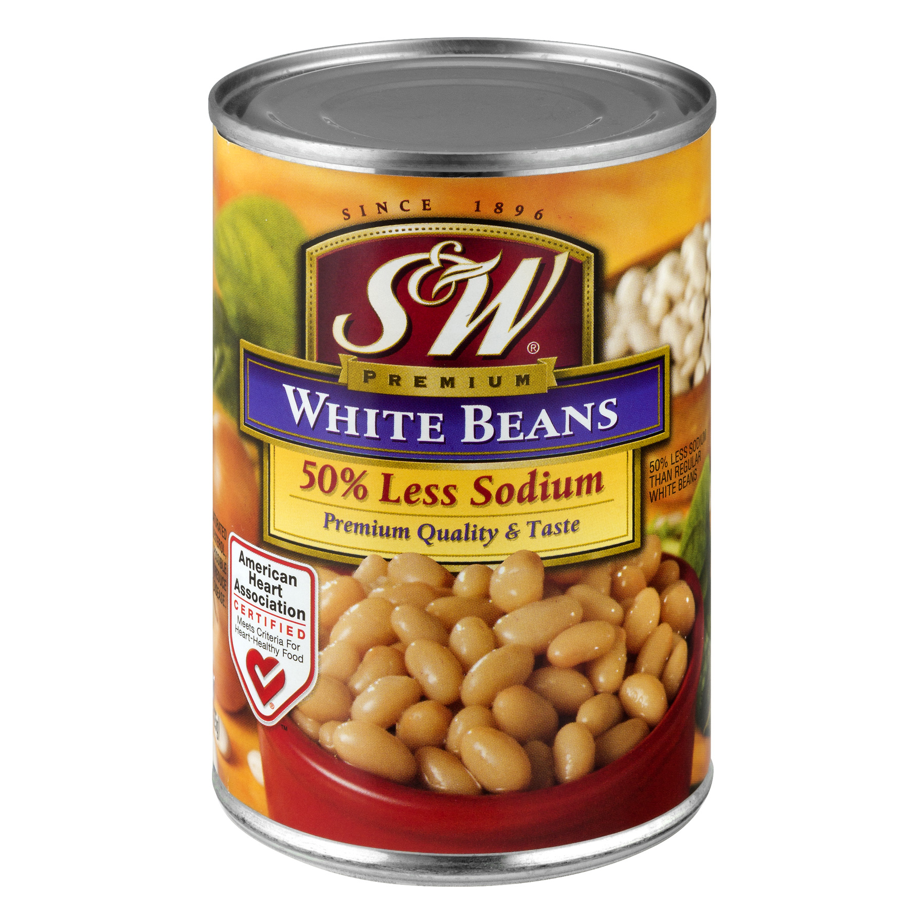 S&W® 50% Less Sodium White Beans 15 oz. Can