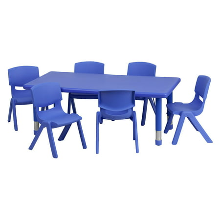 Flash Furniture 24''W x 48''L Adjustable Rectangular Plastic Activity Table Set with 6 School Stack Chairs, Multiple (Friends Furniture Set)
