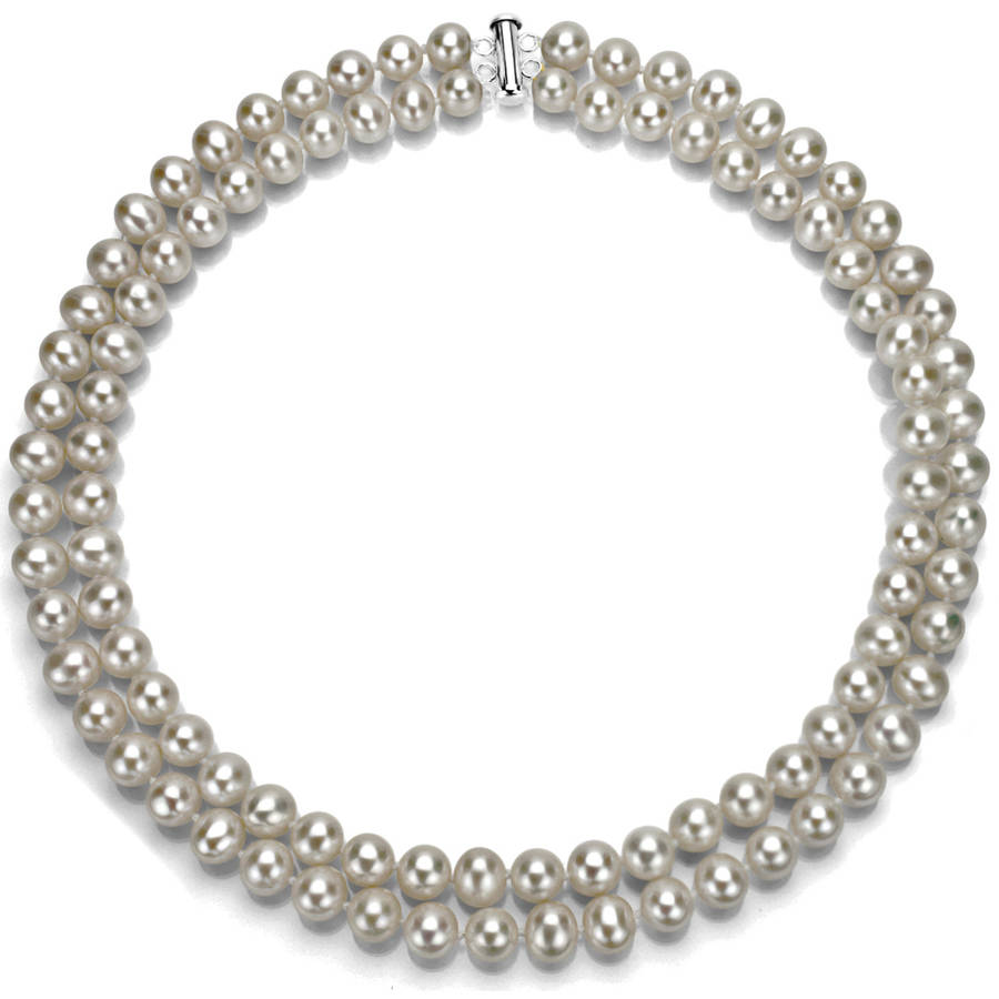 "Image of Gray Freshwater Pearl Necklace for Women, Sterling Silver 2 Row 17"" & 18"", 8mm x 9mm"