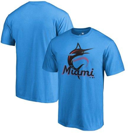 Florida Marlins Logos - Miami Marlins Fanatics Branded Primary Logo T-Shirt - Blue
