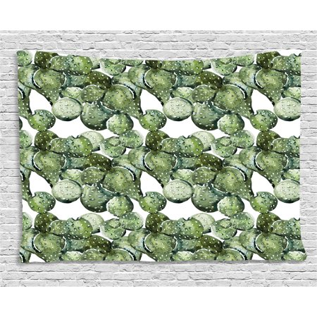 Cactus Tapestry, Botany Themed Plants Opuntia Plants Prickly Pear Watercolor Drawing Effect Tropical, Wall Hanging for Bedroom Living Room Dorm Decor, 60W X 40L Inches, Green White, by Ambesonne