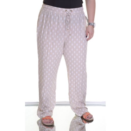 Charter Club Printed Drawstring Soft Pants Sand Combo Size  L